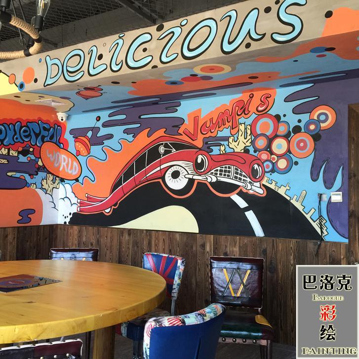 手绘3d立体画    古建筑墙体彩绘    幼儿园 墙体彩绘  餐厅宾馆